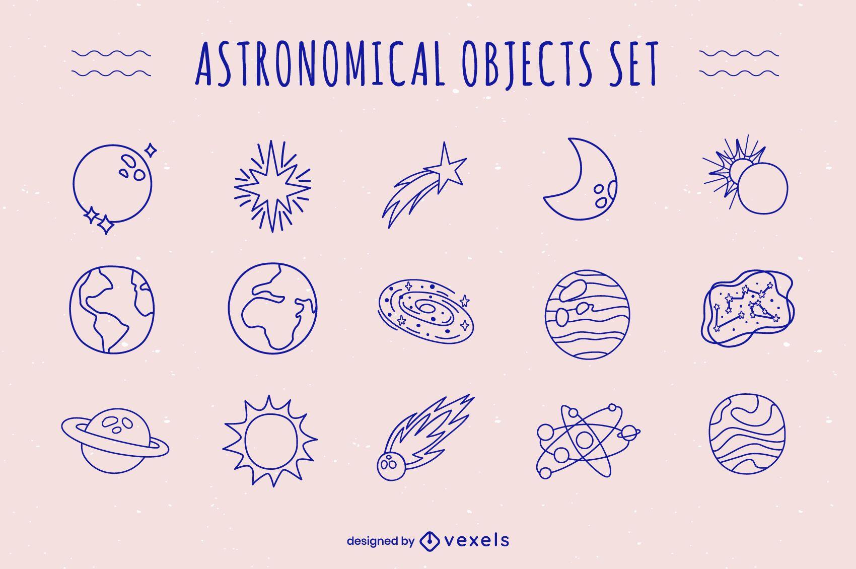 Conjunto de doodle de objetos astronómicos