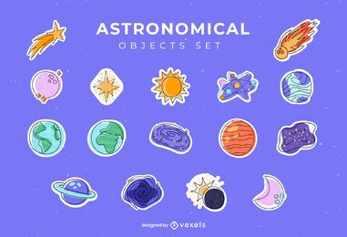 Astronomical objects sticker set