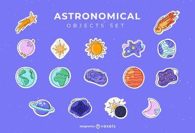 Conjunto de adesivos de objetos astronômicos