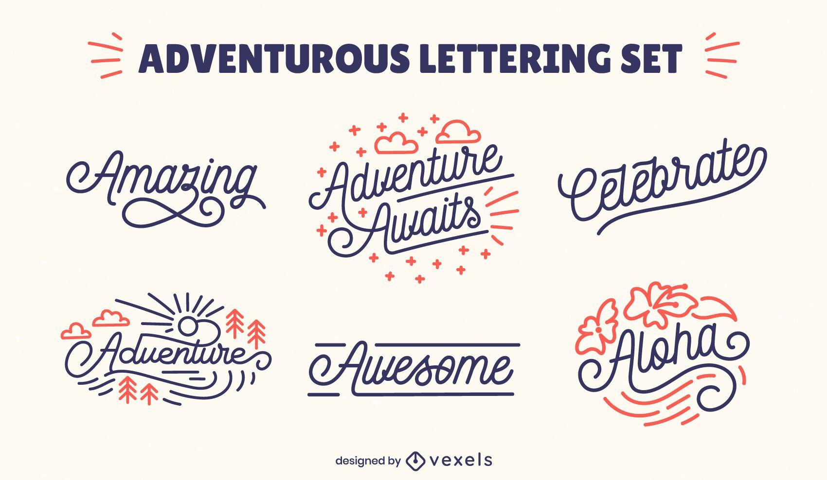 Coleção de letras aventureira