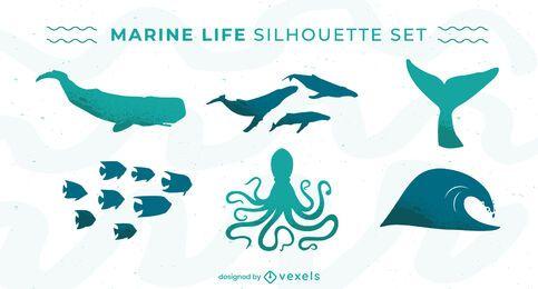 Conjunto de silhuetas de animais marinhos da vida marinha