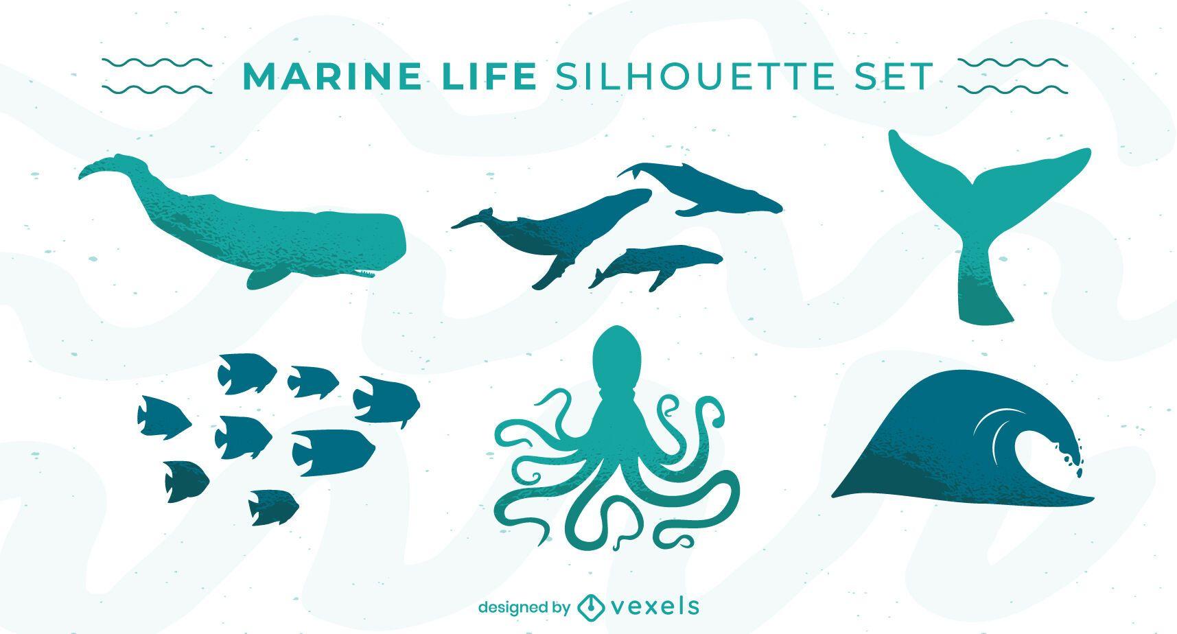 Conjunto de silueta de animales marinos de vida marina