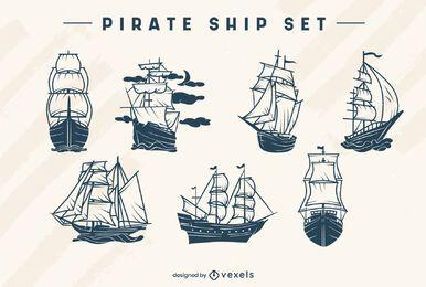 Conjunto de navio pirata monocromático
