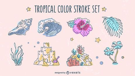 Tropical elements beach summer pack