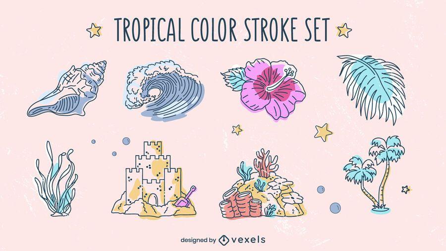 Tropical elements beach summer pack