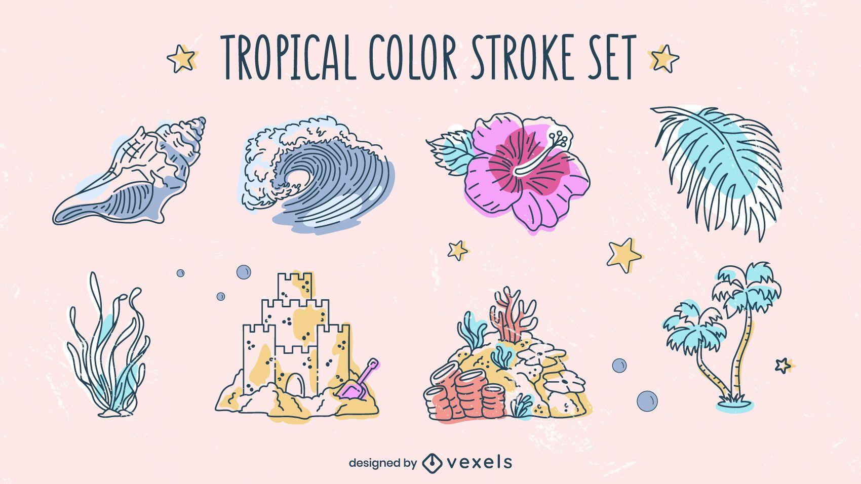 Pack verano playa elementos tropicales