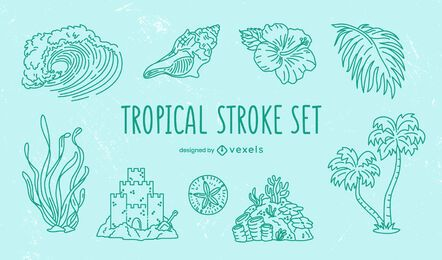 Tropical elements stroke set