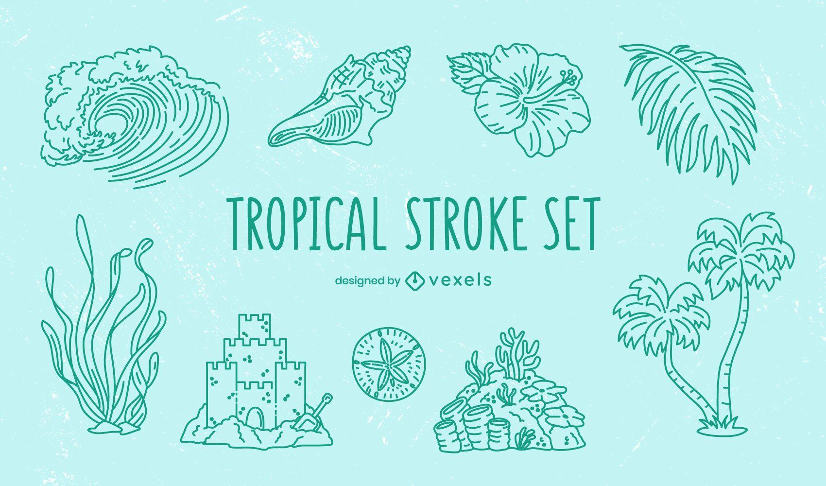 Tropical elements stroke set