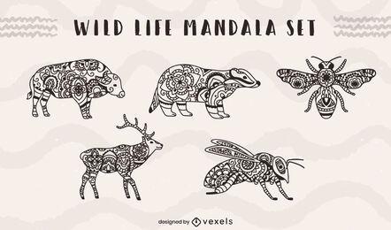 Conjunto de mandala de animales e insectos de vida salvaje.
