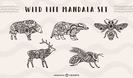Wild life animals and insects mandala set
