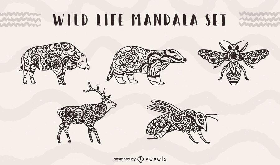 Wild life animals and insects mandala set