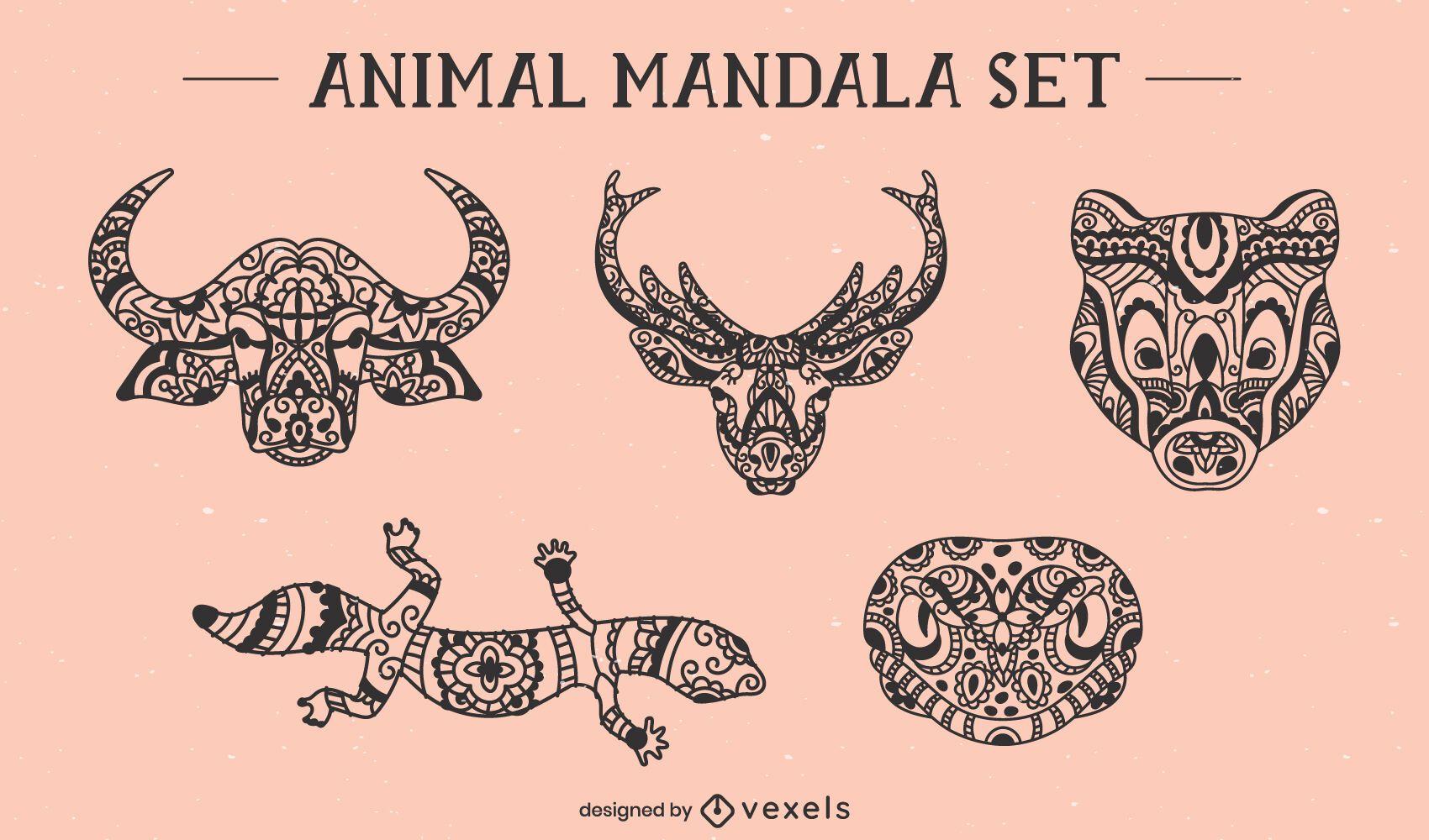 Conjunto de mandala frontal de rostos de animais