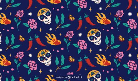 Cinco de mayo sugar skull pattern