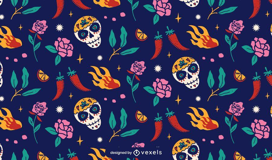 Cinco de mayo sugar skull pattern