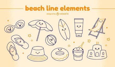 Conjunto de elementos de línea de playa kawaii