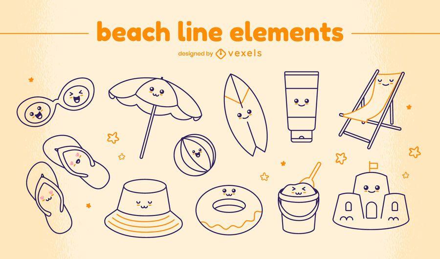 Kawaii beach line elements set