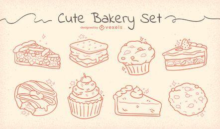 Conjunto de comida brillante dibujada a mano de panadería