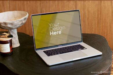 Macbook Pro on dark wooden table mockup