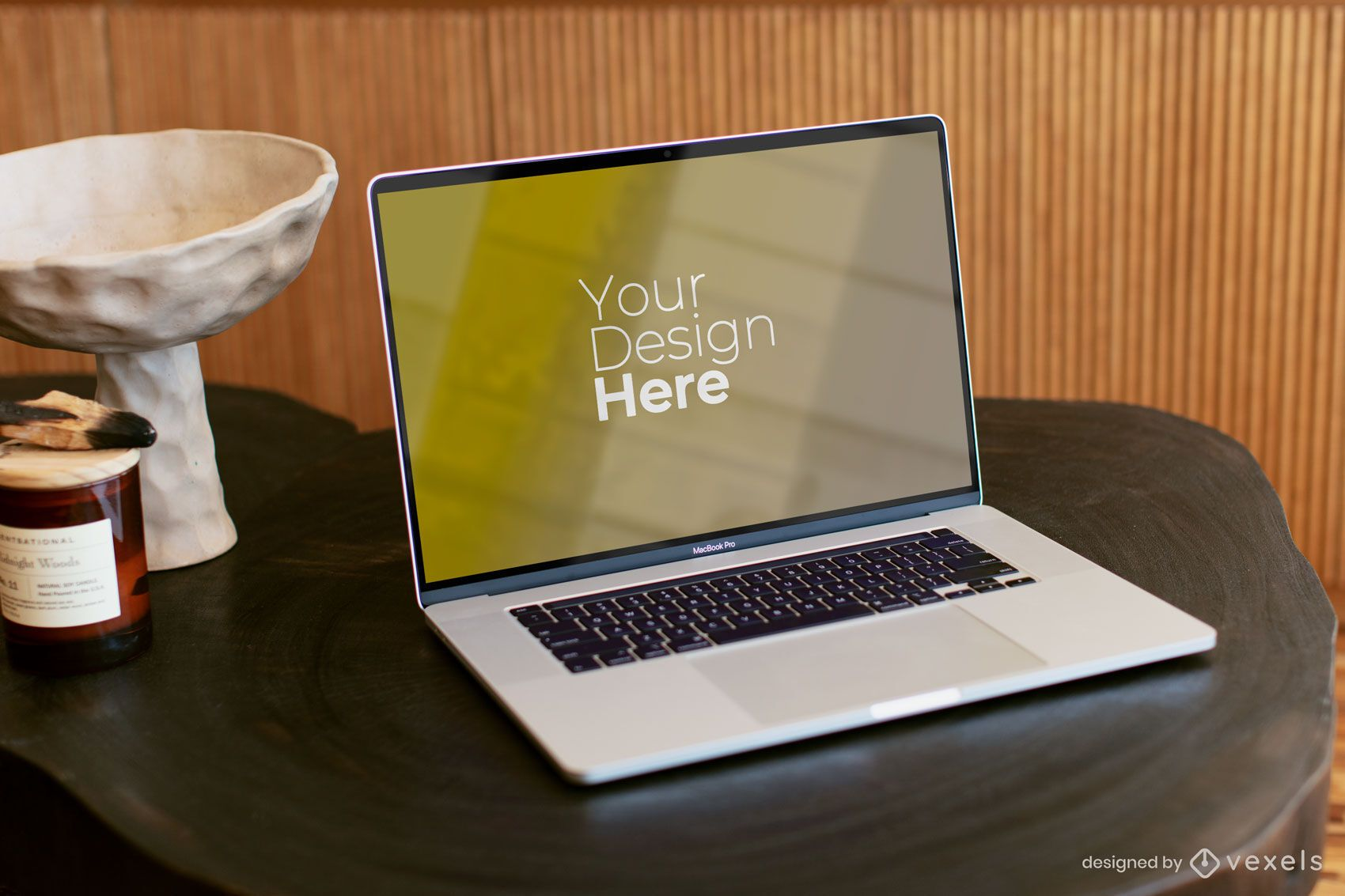 Macbook Pro on dark wooden table mockup