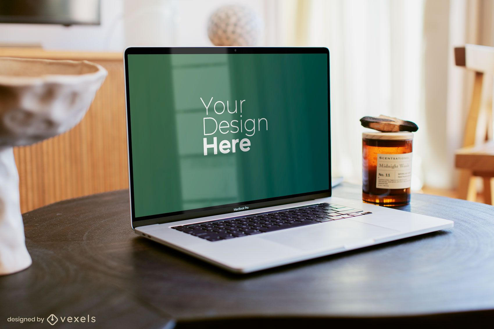 Silver Macbook laptop on wooden table mockup