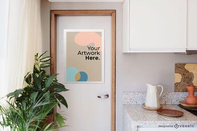 Maquete de pôster moderno da porta da cozinha