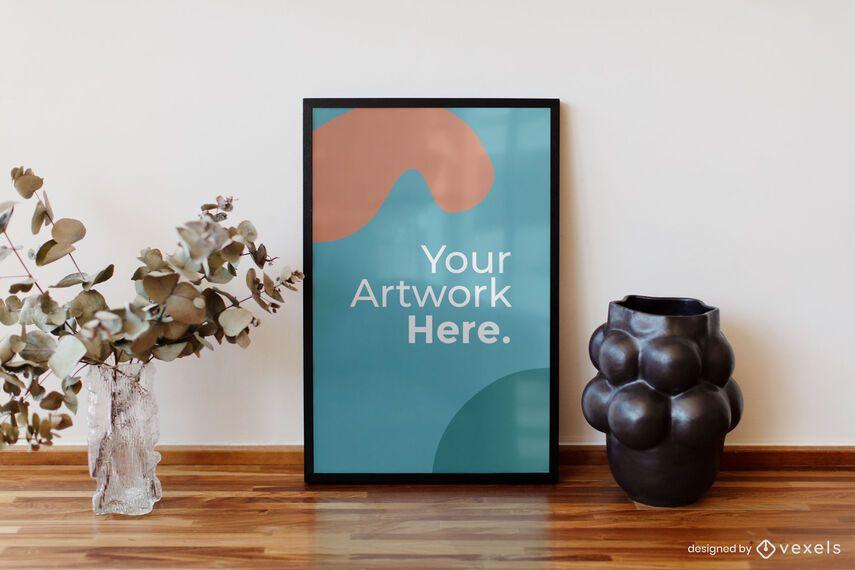 Wooden table decor artwork frame mockup