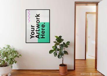 Wall artwork frame plants mockup