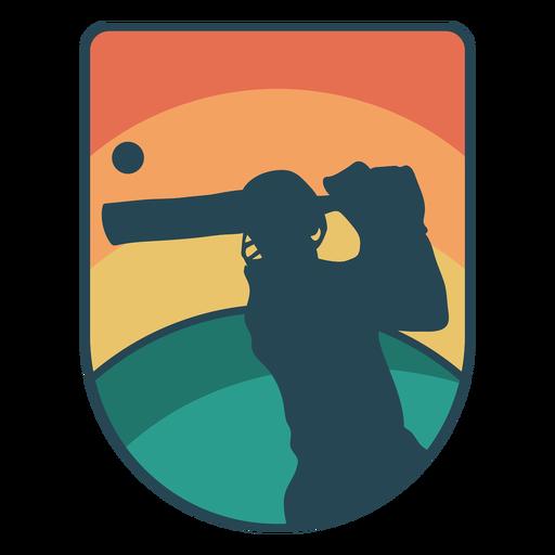 Emblema do pôr do sol de jogador de críquete