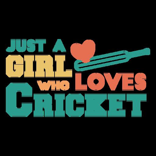 Girl loves cricket sport badge