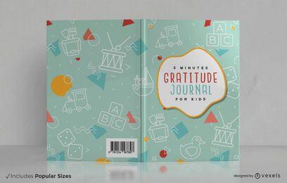 Diseño de portada de libro para niños de diario de gratitud