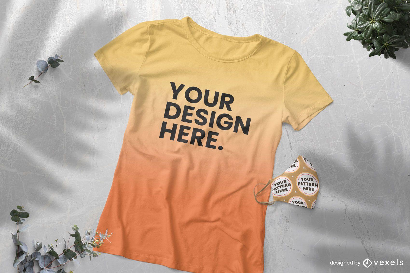Farbverlauf T-Shirt und Gesichtsmaske Modell
