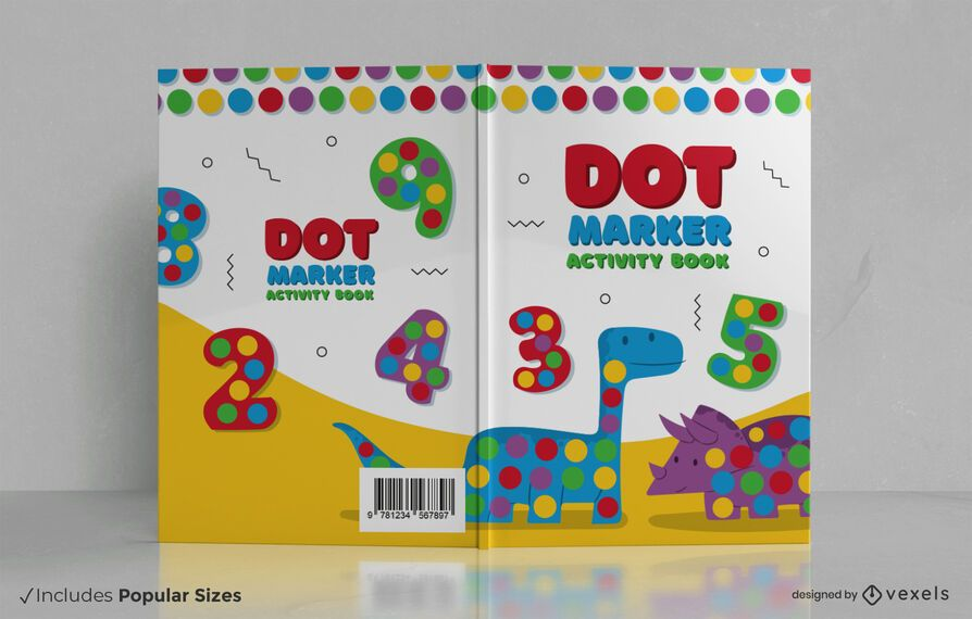 Diseño de portada de libro de actividades de marcador de puntos