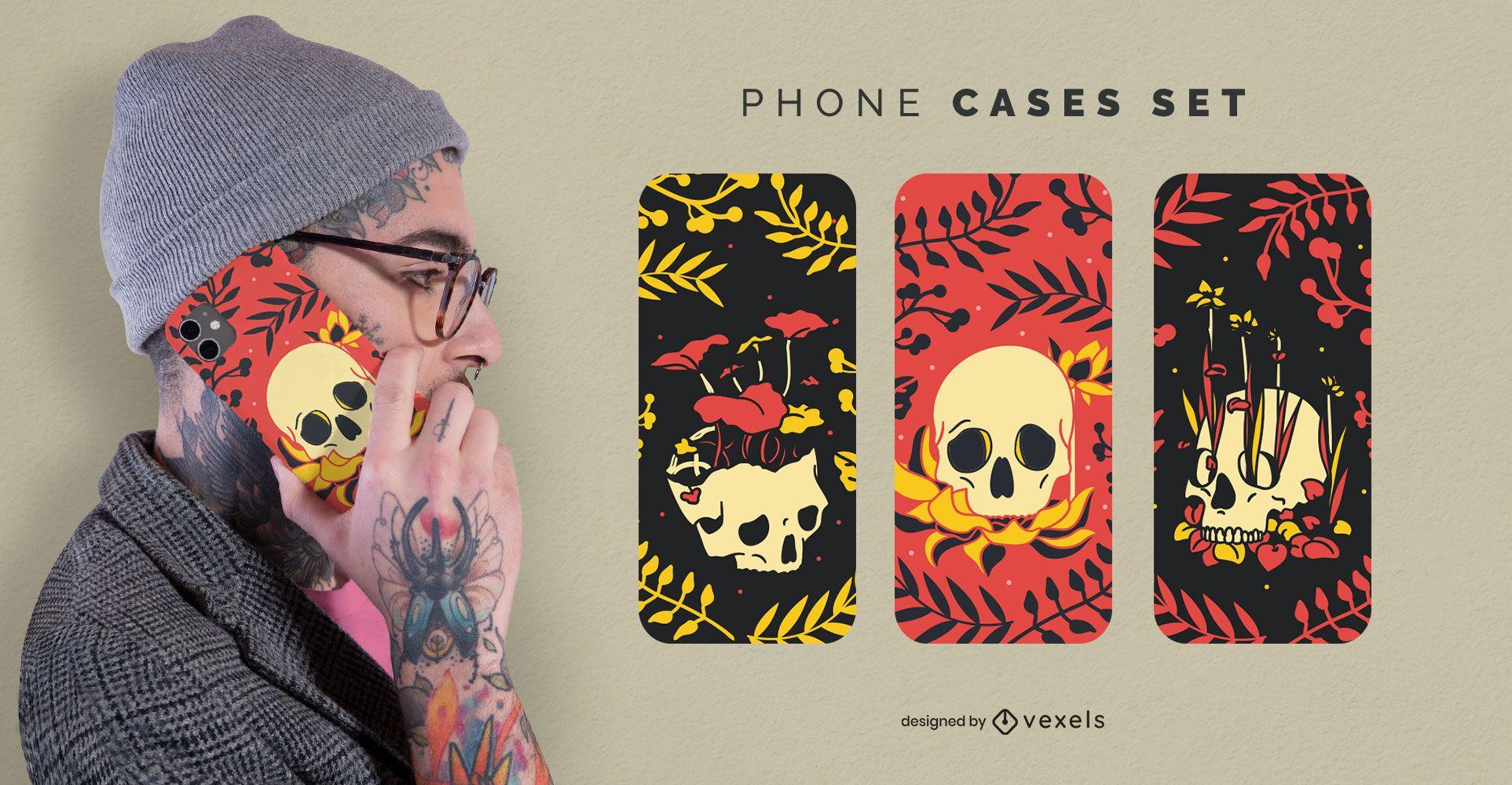 Nature skulls phone case set
