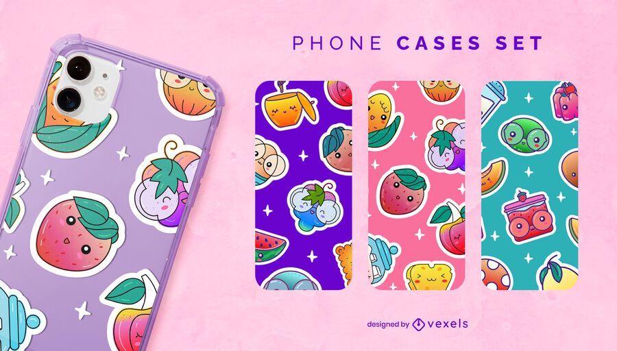 Kawaii fruits phone case set