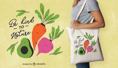Design de sacola de vegetais fofos