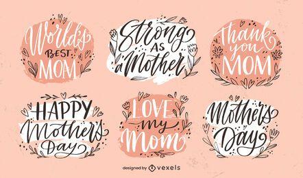 Conjunto de crachá do dia das mães