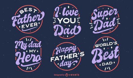 Conjunto de insignias de citas del día del padre