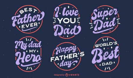 Father's day quotes badge set