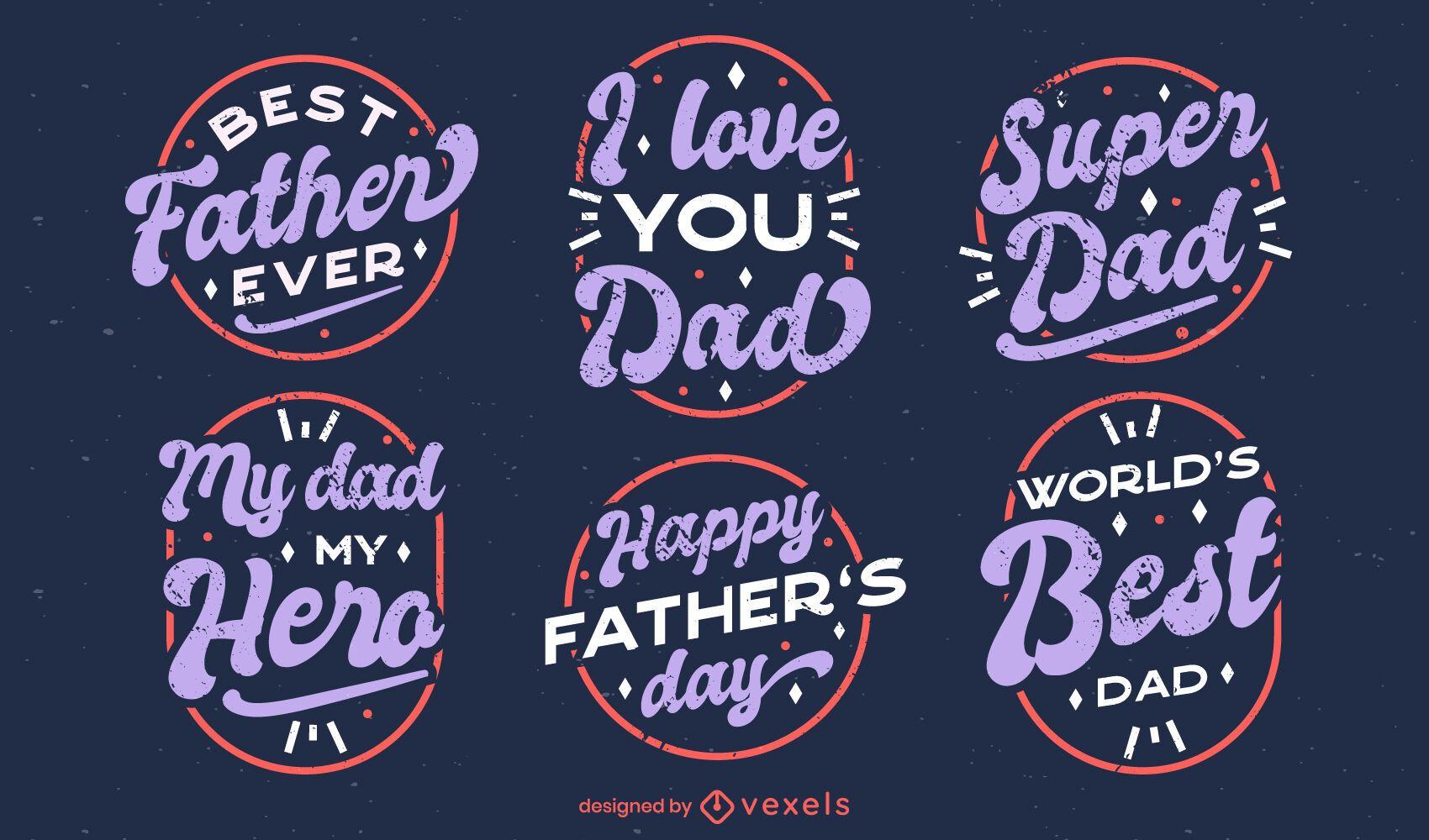 Conjunto de crachá de citações do dia dos pais
