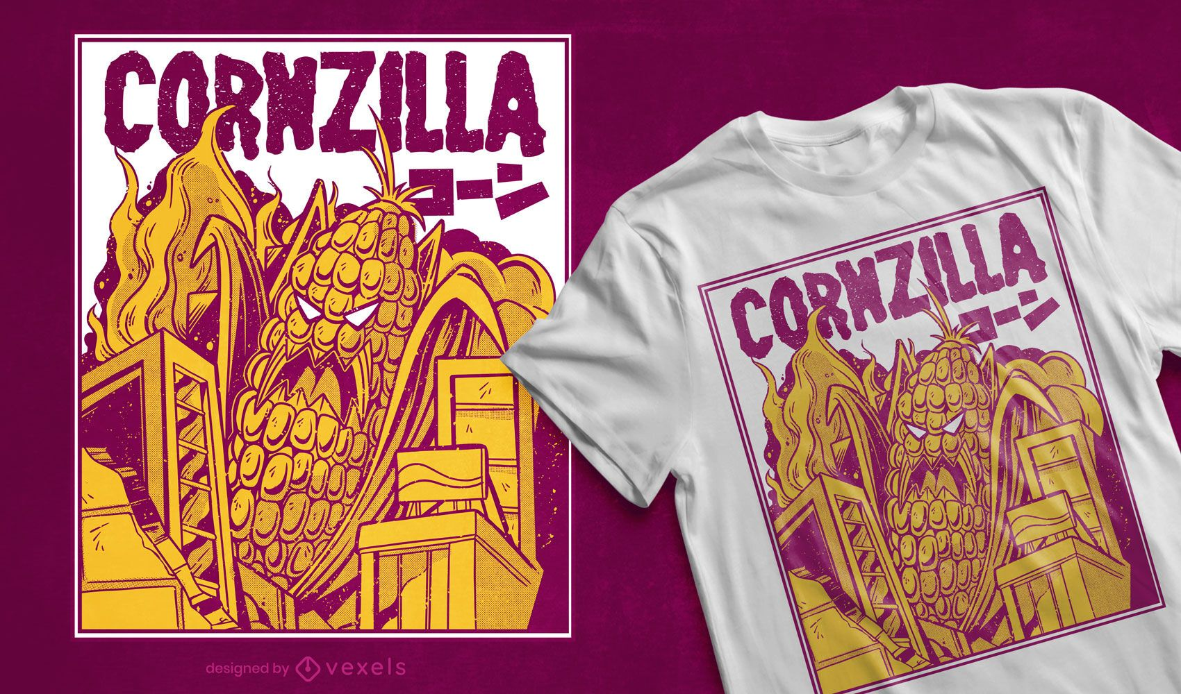 Design de camiseta com paródia de filme Cornzilla