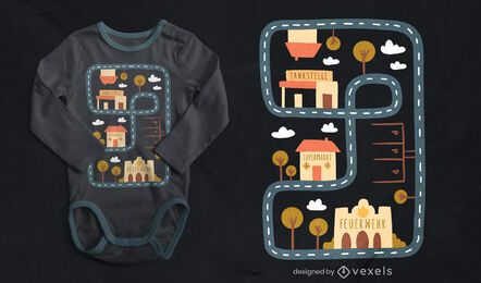 Design de t-shirt da cidade de tapete