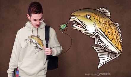 Design de t-shirt de peixe vermelho para pesca