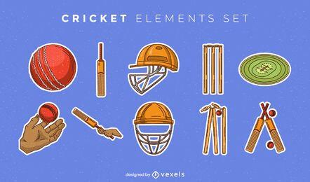 Conjunto de elementos de equipo de cricket