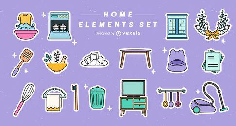 Conjunto de elementos domésticos coloridos