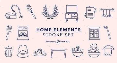 Paquete de trazos de elementos domésticos