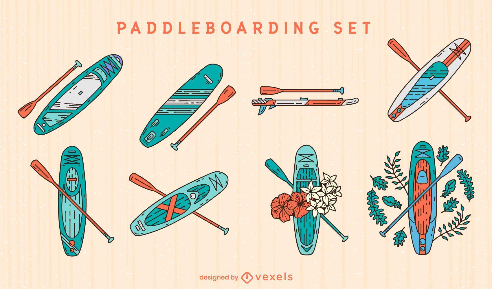 Conjunto de vetores de paddleboards