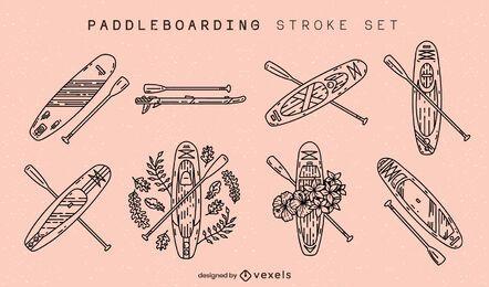 Conjunto de trazos de tablas de paddleboarding
