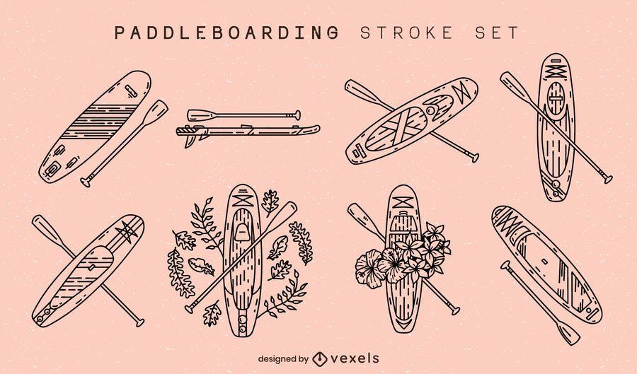 Paddleboarding boards stroke set