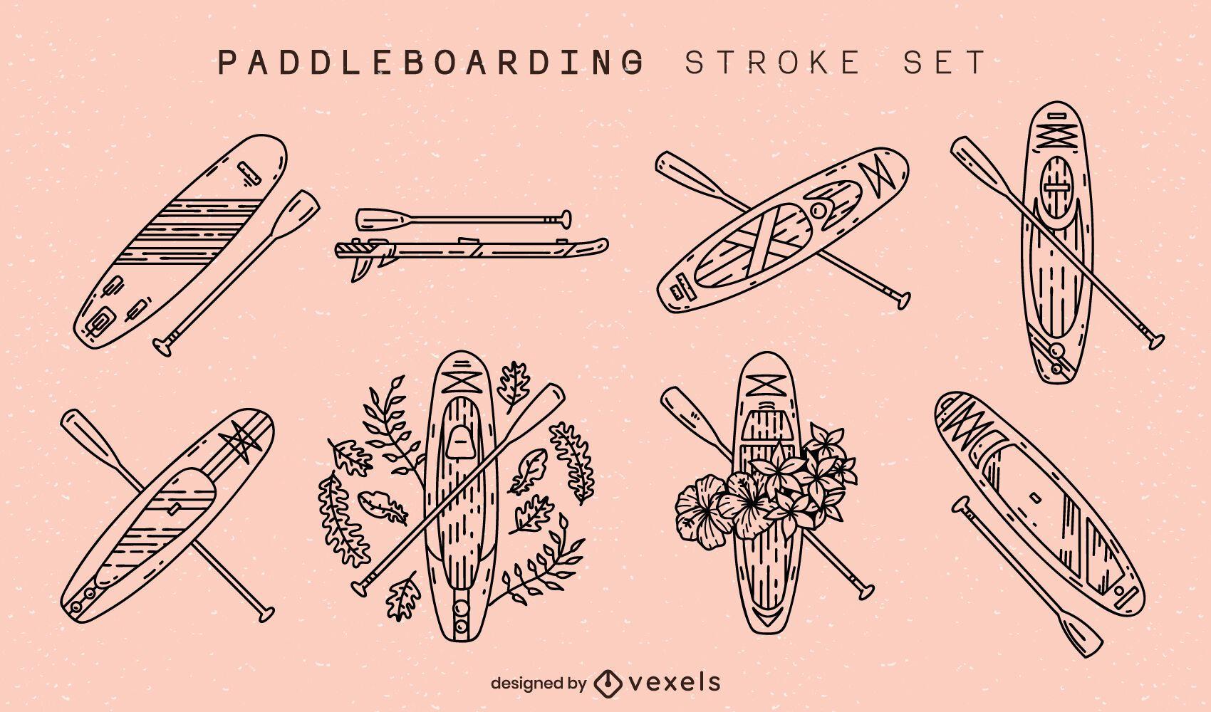 Conjunto de tacadas de pranchas de paddleboard