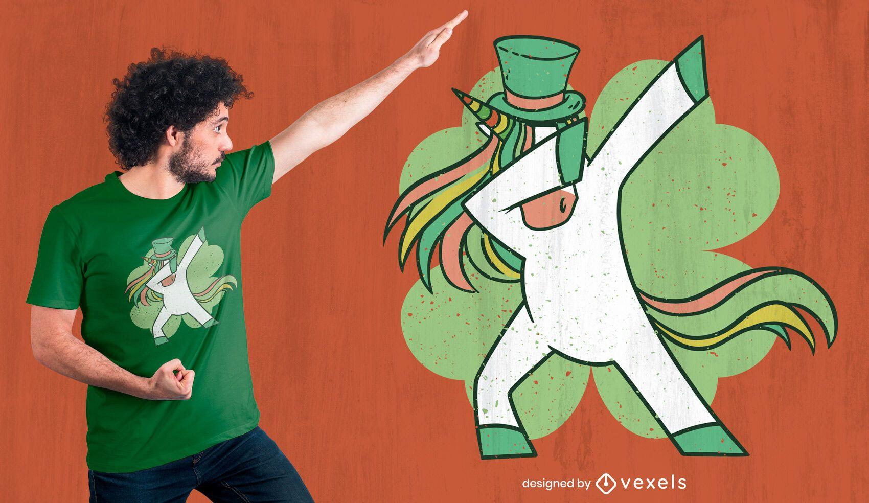 Dabbing unicorn St Patrick's t-shirt design